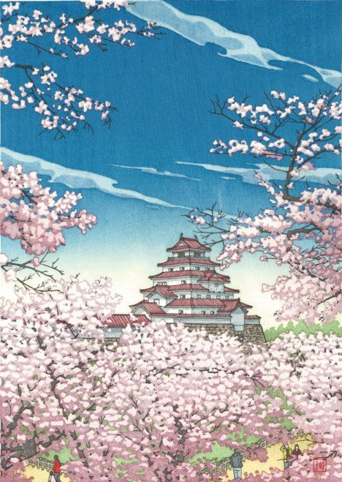 浮世絵木版画「春高楼の花の宴」(福島県会津・鶴ヶ城)