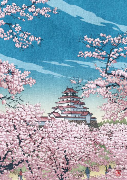 浮世絵木版画・下絵(福島県会津・鶴ヶ城)