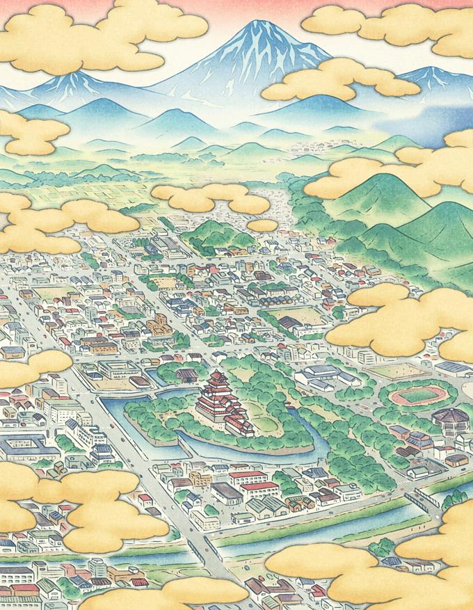 お城のある街(鳥瞰図/俯瞰図)