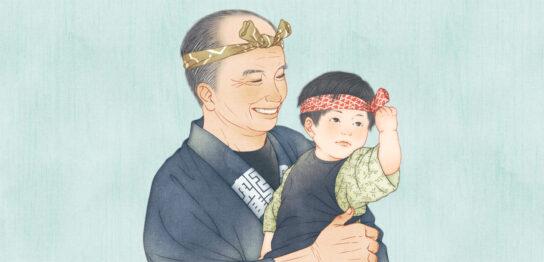 夏祭りの祖父と孫